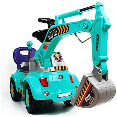 POCO DIVO Blue Digger Scooter, Ride-on Excavator, Pulling cart, Pretend Play Construction Truck